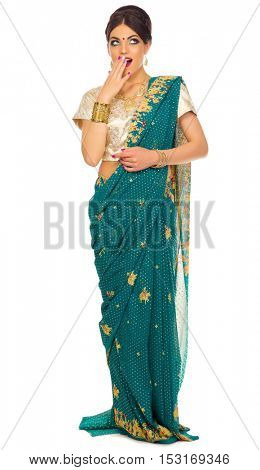 Indian young woman isolated on white