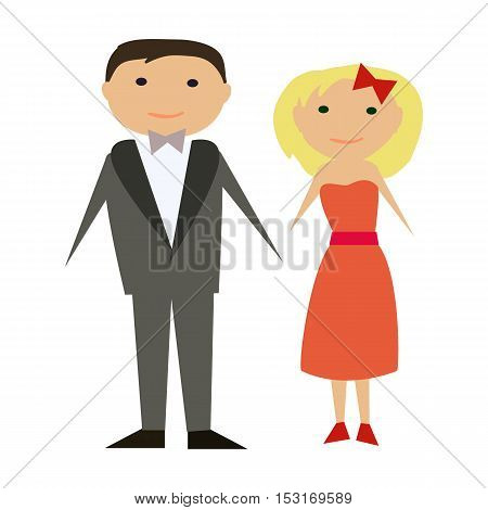 Vector happy couple in flat style. Man and woman in official clothing isolated on white background. Vector modern illustration, man in grey suit and woman in red dress