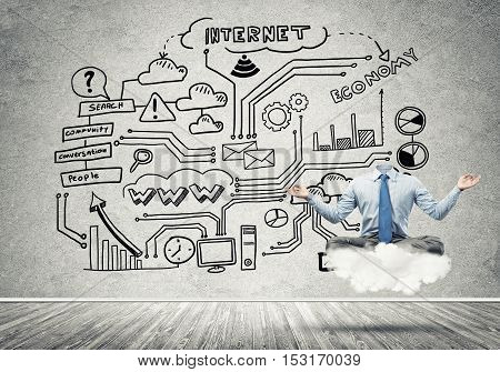 Headless businessman sitting on cloud in lotus pose and meditating