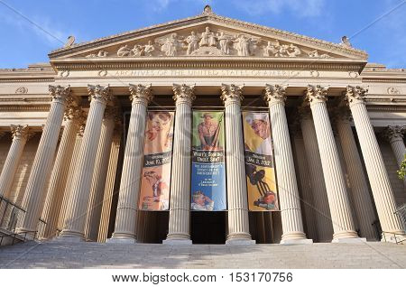 WASHINGTON DC - OCT 9, 2011: National Archives and Records Administration front facade in Washington DC, USA. National Archives holds the original copies of the Declaration of Independence, the Constitution, and the Bill of Rights.
