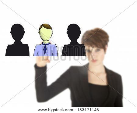 Unsharp young business woman selecting virtual friends isolated on white background
