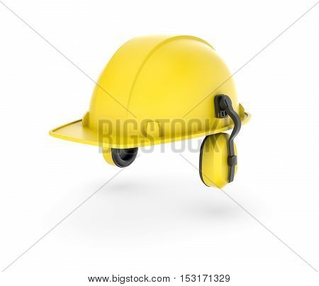3d rendering of a yellow helmet with earphones isolated on the white background. Building and construction. Safety at workplace. Uniform.