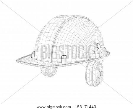 3d wireframe of a safety helmet with earphones isolated on the white background. Building and construction. 3d modeling. Uniform and equipment.