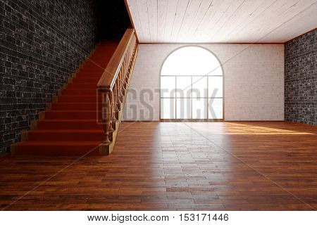 Front view of luxurious interior with wooden floor and staircase black brick wall and window with bright daylight. 3D Rendering