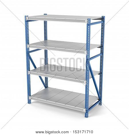 3d rendering of a four-storey metal rack isolated on the white background. Storage furniture. Equipment for the retail stores. 3d modeling.