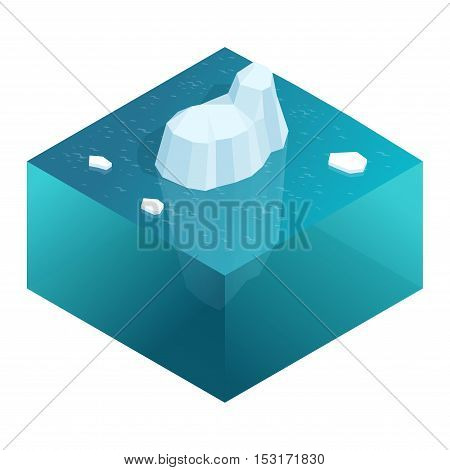 Isometric Underwater view of iceberg with beautiful transparent sea on background. Flat vector illustration
