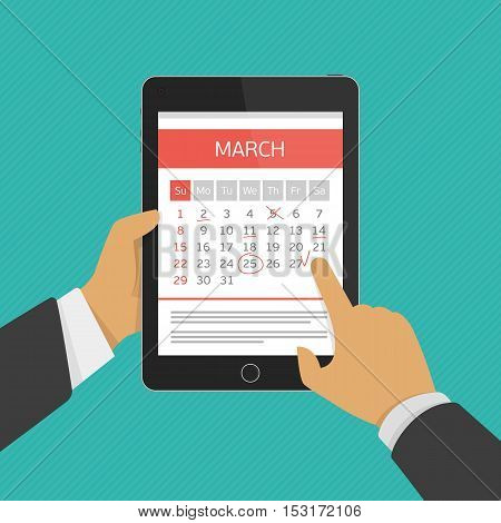 Concept of mobile application for calendar. Week started on Sunday. Important event. Concept for web banners, web sites, printed materials, infographics. Modern vector illustration. Organizer.