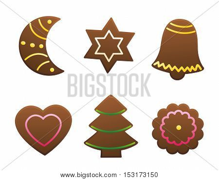 Gingerbread cookies variety - isolated vector illustration on white background.