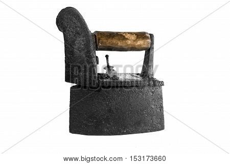 Antique old iron isolated on white background