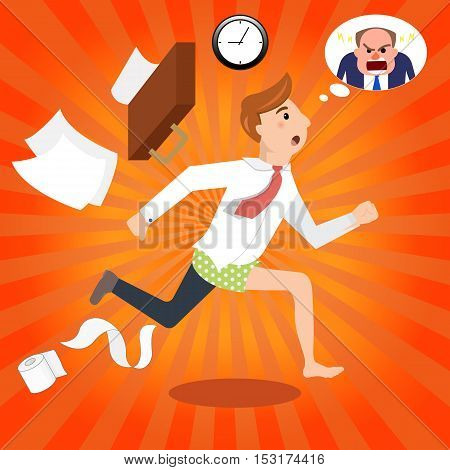 Handsome half-dressed businessman late to work. Manager is late, hurry, running to office, angry boss. The businessman going to work. Vector illustration