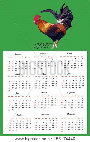 Vector illustration of Calendar Hand Drawn cock bird, isolated object, symbol new year 2017, felt-tip pen and pencil effect.