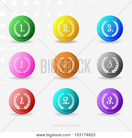 Vector round colorful medals with laurel wreaths collection