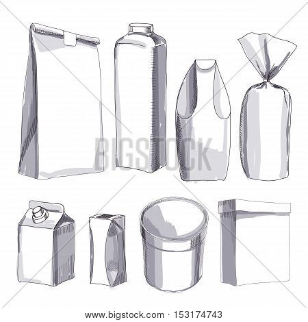 Vector illustration of Hand drawn package all types. Packing box, bottle, milk, sweet, paper bag. Template for design