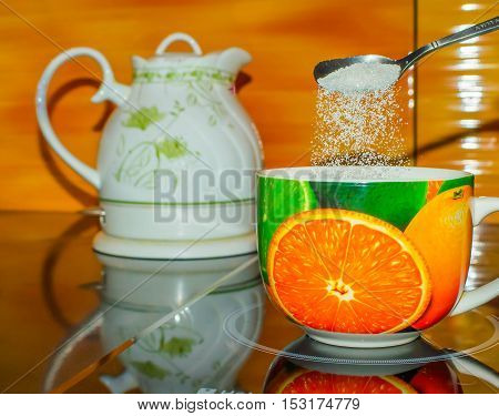Tea cup hot green white teapot water background liquid