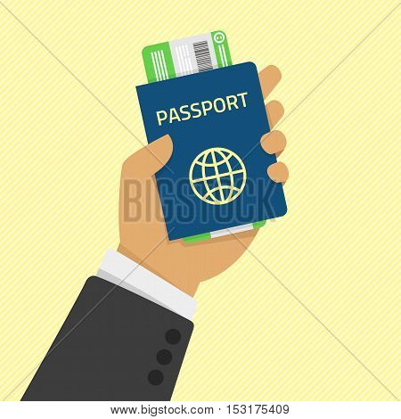 Hand holding passport with tickets. Concept travel and tourism. Travel documents. International passport. Vector illustration in flat style.