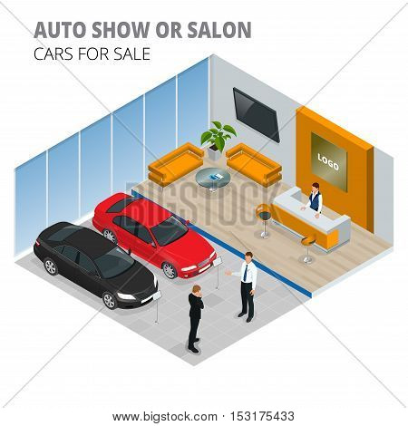 Commercially colorful cars stand in car shop. Vector 3d flat isometric illustration. New shining beautiful cars stand near desk reception in car shop