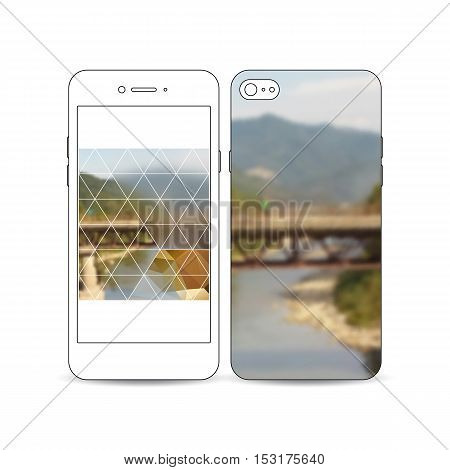 Mobile smartphone with an example of the screen and cover design isolated on white background. Colorful polygonal backdrop, blurred background, nature landscape, modern stylish triangle vector texture