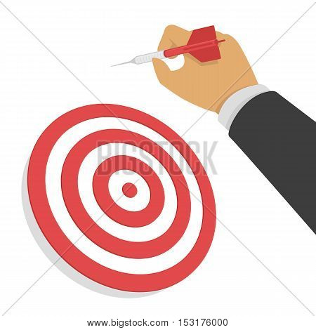 Vector hand holding dart. Businessman aiming at the business target.