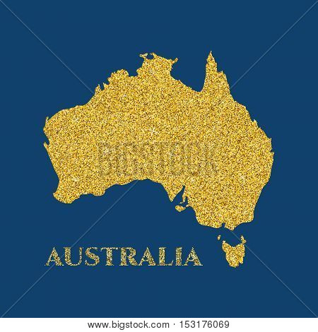 Australian map silhouette with gold glitter texture. Vector illustration for your design.