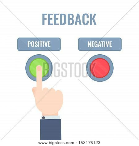 Male hand pressing positive review button. Customer feedback design template. Rating evaluation vector symbol. Reviews and feedback concept.