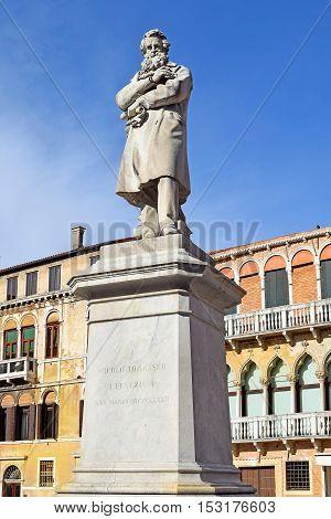 monument Niccolo Tommaseo was italian linguist, journalist and essayist, Campo Santo Stefano in Venice