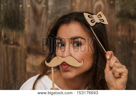 Young Girl With  Moustache Hipster