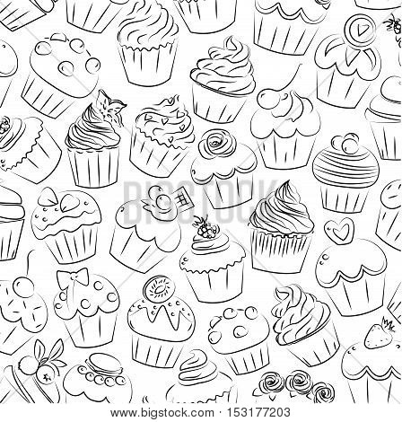 Cupcake cupcakes muffin fairy patty cup cake cakes muffins pastry confectionery pastries seamless brick pattern. Vector square closeup side view beautiful color outline illustration design isolated on white background.