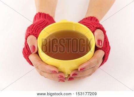 Female hands in mittens are heated to a cup of tea.