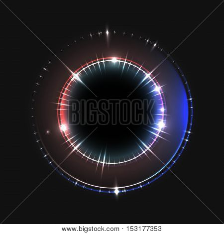 Energy abstract background with luminous swirling of glow circles. Glowing spiral circles in motion.