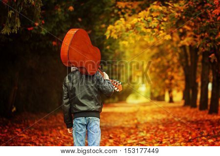 Boy with guitar walking on the autumn road. Back view.