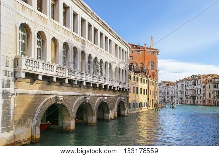 urban landscape of with Grand Canal of Venice in Italy