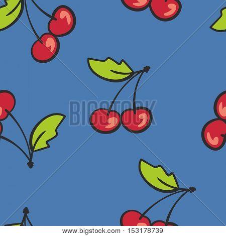 Seamless background cartoon cherry on blue