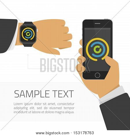 Smart watch and smart phone illustration. Vector illustration of digital watches and mobile phone communication. Modern technology, connection, communication.