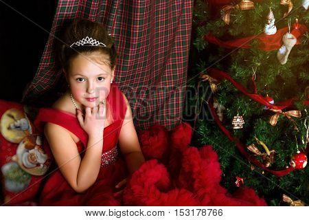 Winter Princess Girl Welcomes New Year And Christmas