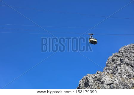 Oberstdorf, Germany - October 22, 2016: Nebelhorn cable car in Autumn. Its a Cable Car to Nebelhorn Mountain in Oberstdorf. Germany