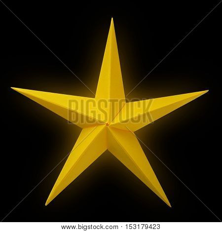 Yellow golden paper origami christmas lucky star isolated on black