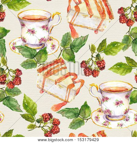Seamless watercolor wallpaper - tea cup, cheese cake and raspberry berries on canvas texture