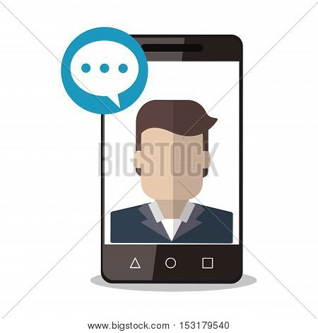 Smartphone man avatar and bubble icon. Social media marketing communication theme. Colorful design. Vector illustration
