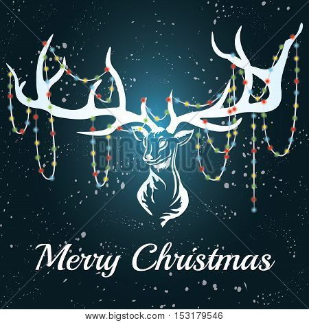 Vector deer with white silhouette with marry christmas. Format eps10.