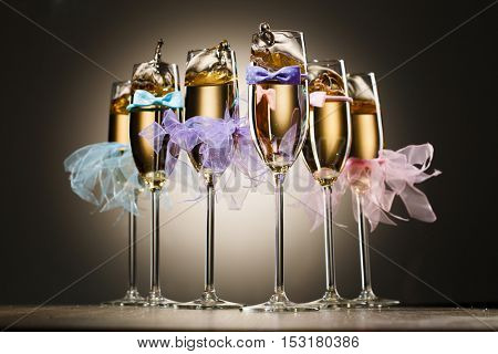 Set of decorated glasses with champagne for wedding party