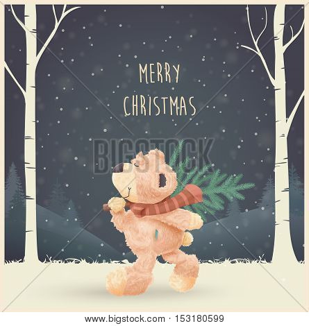 Merry Christmas and Happy New Year greeting card vector illustration. Night Forest background with text place. Teddy bear goes home with fir-tree.