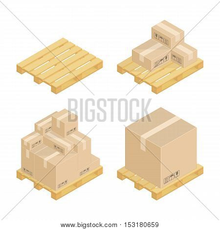 Set isometric cardboard boxes and pallets. Industrial pallets and boxes for warehouse.