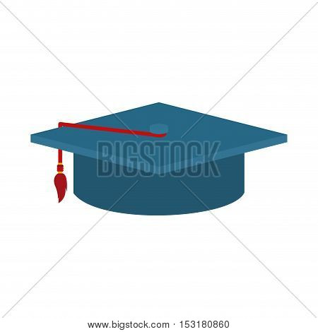 Graduation cap with red ribbon icon. Uniform and university theme. Colorful design. Vector illustration