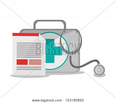 Medical kit stethoscope and document icon. Medical and Health care theme. Colorful design. Vector illustration