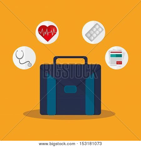 Suitcase stethoscope heart medicine and document icon. Medical and Health care theme. Colorful design. Vector illustration