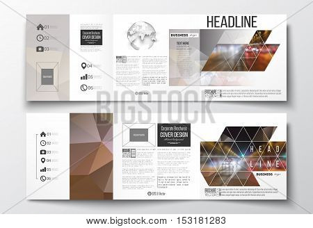 Vector set of tri-fold brochures, square design templates with element of world globe. Dark polygonal background, blurred image, night city landscape, car traffic, modern triangular texture.