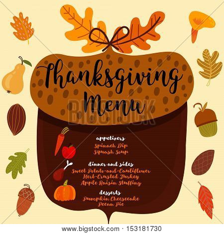 Thanksgiving Menu.; Invitation Design For A Thanksgiving Dinner Or Party. Vector Template, Can Be Us