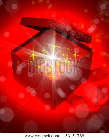 an image of gift box and light beams