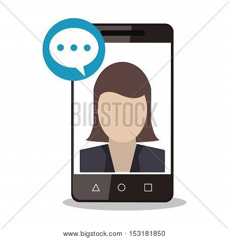 Smartphone woman avatar and bubble icon. Social media marketing communication theme. Colorful design. Vector illustration