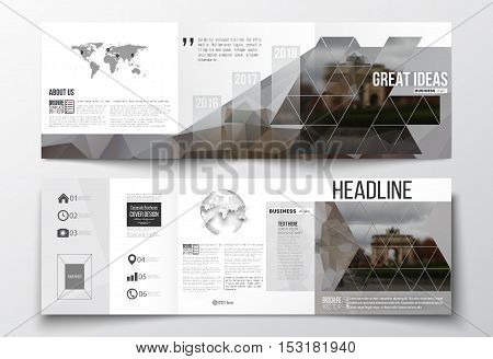 Vector set of tri-fold brochures, square design templates with element of world map and globe. Polygonal background, blurred image, urban landscape, Paris cityscape, modern triangular vector texture